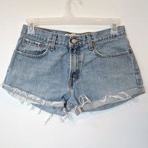 Vintage Levis 527 Cut Off Rolled Jean Shorts Raw